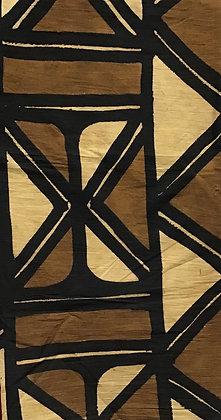 African Mud Cloth PRINT Fabric - #69, beige/brown, cowrie shell
