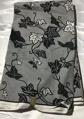 African Print Fabric, blue, white, leaf