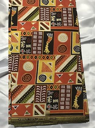 African Print Fabric, orange, yellow, orange, black, tribal