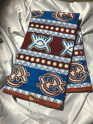 African Print Fabric, turquoise, burgundy, gold framed Gye nyame