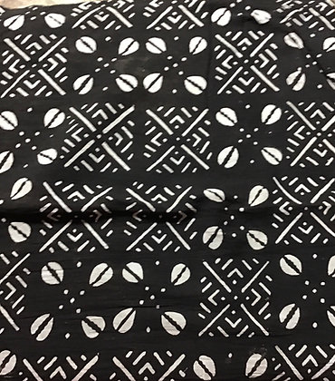 CAfrican Mud Cloth PRINT Fabric - #98 - black background with white images