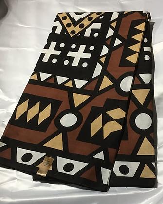 African Print Fabric, rust, tan, brown, black