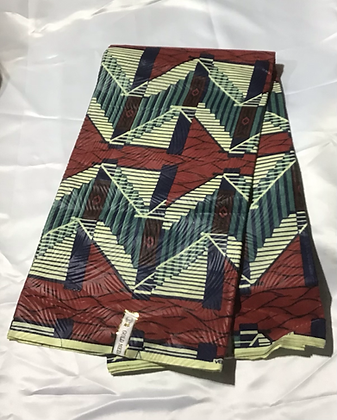 African Print Fabric, blue, creme, burgundy