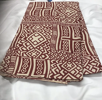 African Print Fabric, burgundy and creme, abstract