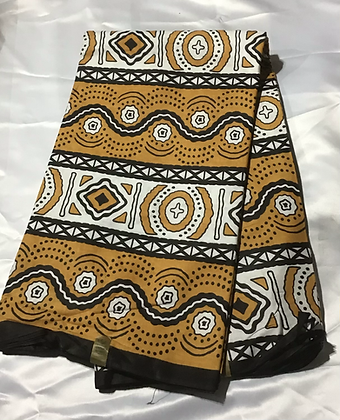 African Print Fabric, gold, brown, black, abstract