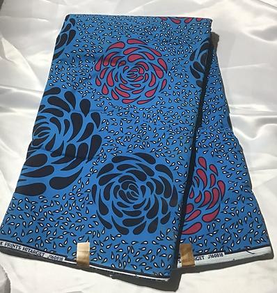 African Print Fabric, turquoise, fuschia, dark blue