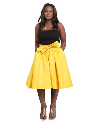 African Print Mid Length Skirt - Yellow
