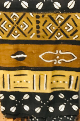 Hand Woven Mud Cloth (26) brown, gold, black, white, lines, cowrie