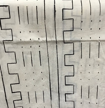 African Mud Cloth PRINT Fabric - #56, black and white