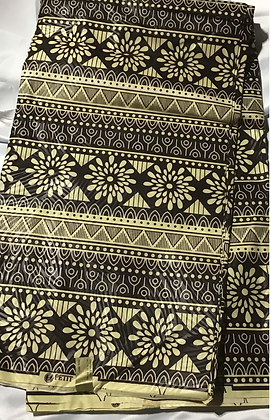 African Print Fabric, brown, crime, daisies