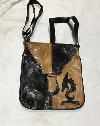 Leather Cross over bag, brown and beige