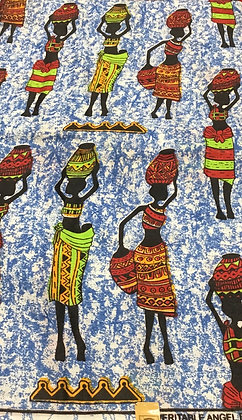 African Print Fabric - women with vases on heads