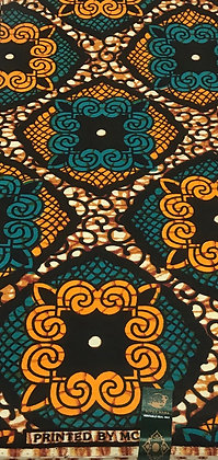 African Wax Print Fabric, orange, black, green