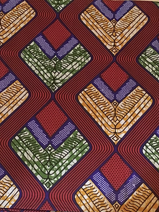 African Print Fabric, purple, green, orange, diamonds