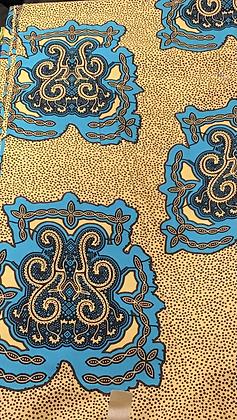 African Print Fabric, turquoise, dark blue, beige