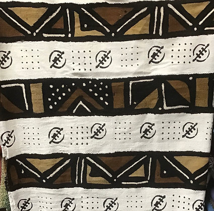 Hand Woven Mud Cloth (48) white, brown, black, gold, gye nyame, vertical