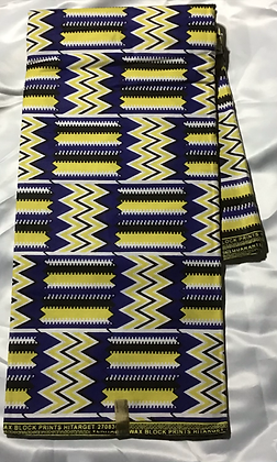 African Print Fabric, yellow, blue, zig zag