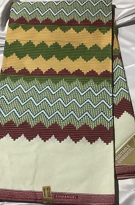 African Print Fabric, burgundy, green, blue, zig zag