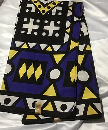 African Print Fabric, yellow, blue, white, black