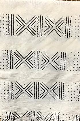 African Mud Cloth PRINT Fabric - #42 - White