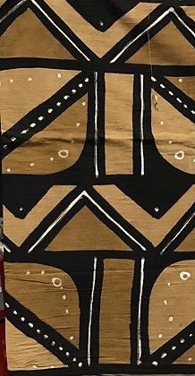 African Mud Cloth PRINT Fabric - #76, beige, tan, black, white, dots, diamonds