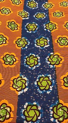 African Print Fabric, green, orange, blue