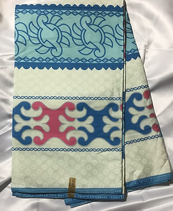 African Print Fabric, turquoise, light blue, pink