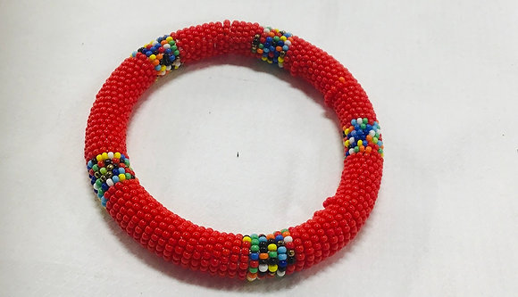 Beaded Bangle Bracelet,red and mulri-colored beads, you can stack them at this
