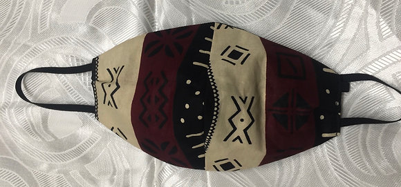 African Mud Cloth Print Fabric Reversible Mask
