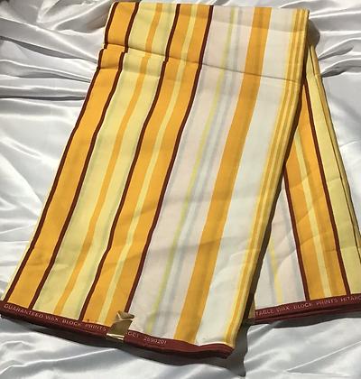 African Print Fabric, goldenrod, yellow, burgundy, stripes