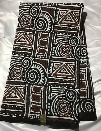 African Print Fabric, black, brown, white, abstract