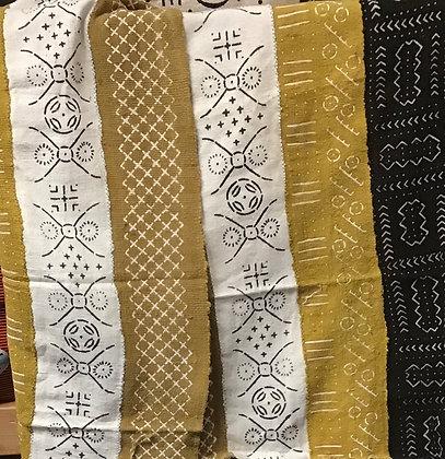 Hand Woven Mud Cloth (49) white, gold- black border