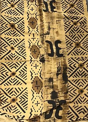 African Mud Cloth PRINT Fabric - #87 - beige/brown