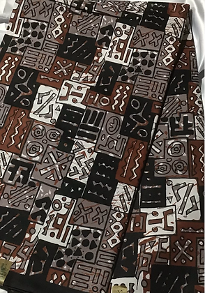 African Print Fabric, black, brown, gray, abstract