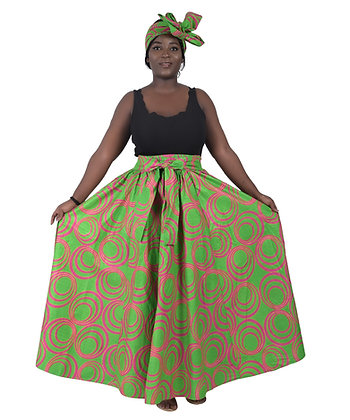 African Print Long Skirt - Pink and Green