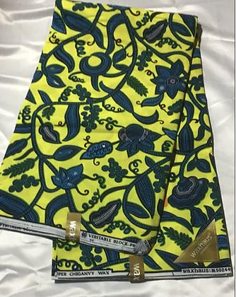 African Print Fabric, yellow, blue, green, foliage