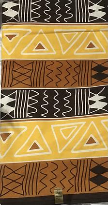 African Print Fabric, yellow, tan, white, black, scribble