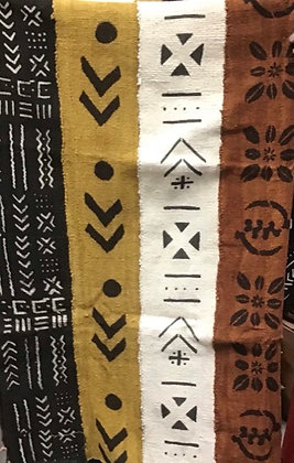 Hand Woven Mud Cloth (1), black, gold, white and brown