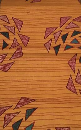 African Print Fabric, orange, fuschia, green