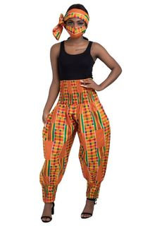 High-rise cropped balloon-leg trousers, with head wrap and mask