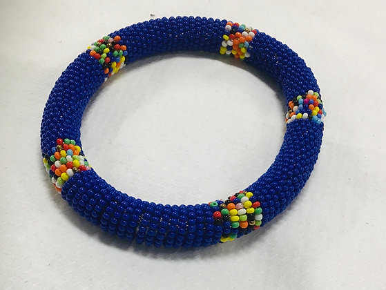 Beaded Bangle, cobalt blue and mulri-colored beads, you can stack them at this
