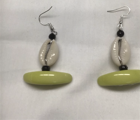 Yellow Acrylic and Cowrie Shell Earrings