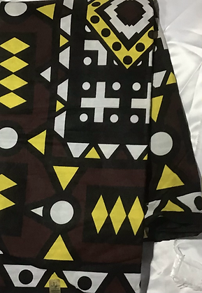 African Print Fabric, yellow, brown, white, black