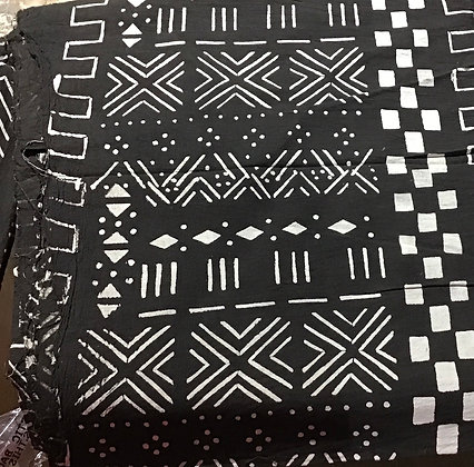 African Mud Cloth PRINT Fabric - #99 - black and white checkerboard