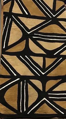 African Mud Cloth PRINT Fabric - #70, black, white, tan, beige