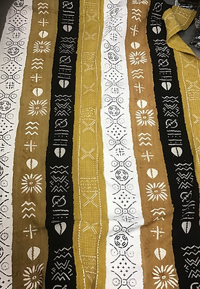 Hand Woven Mud Cloth (59) black, gold, white, cowrie shell, gold border