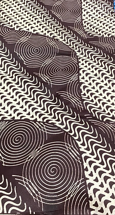 African Print Fabric, brown, cream, swirls