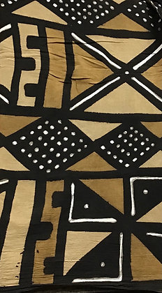 African Mud Cloth PRINT Fabric - #71, beige, tan, black, white