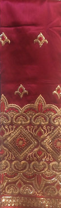 Red & Gold Lace Fabric