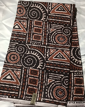 African Print Fabric, tan, coffee, black, brown, white, abstract